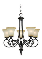 "Corinth 5-Light 26"" Dark Forum Patina Finish with Gold Accents Chandelier"