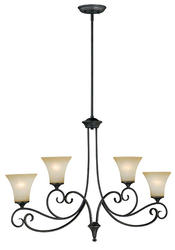 "Corinth 4-Light 38"" Dark Forum Patina Finish with Gold Accents Island Light"