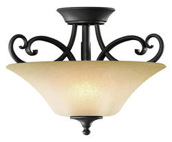 "Corinth 2-Light 14"" Dark Forum Patina Finish with Gold Accents Semi-Flush"