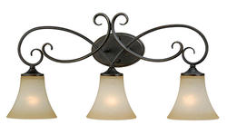 "Corinth 3-Light 26"" Dark Forum Patina Finish with Gold Accents Vanity Light"