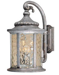 "Valencia 1-Light 12"" Gilded Silver Outdoor Wall Light"