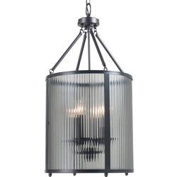 Four Light Foyer Chandelier with Smoke Ribbed Globe