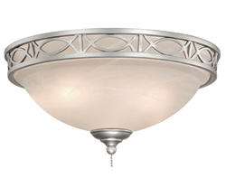 "2-Light 13.5"" Brushed Nickel Ceiling Fan Light"