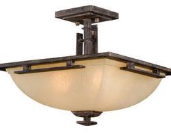 "Mission 3-Light 15"" Charcoal Chestnut Semi Ceiling 3Light"