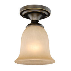 "Paige 1-Light 6""Oil Rubbed Bronze with Gold Accent Ceiling Light"