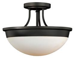 """Tertial II 2-Light 14"""" Oil Rubbed Bronze Semi-Flush Ceiling Light"""
