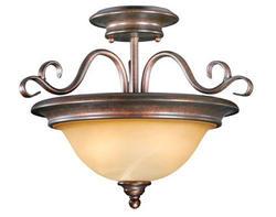 """Savanah 2-Light 14.5"""" Royal Bronze Semi Flush"""