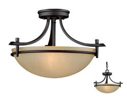 "Somerville 2-Light 15"" Oil Rubbed Bronze Semi-Flush Ceiling"