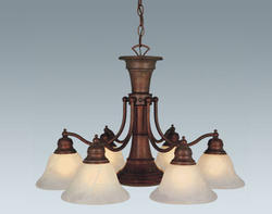 "Standford 7-Light 26"" Weathered Patina Chandelier"