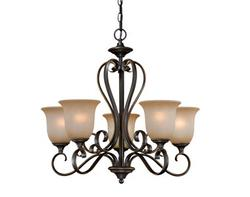 "Mavis 5-Light 24.75"" Oil Brushed Bronze with Gold Accent Chandelier"
