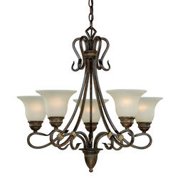 "Berkeley 5-Light 26"" Aged Walnut Chandelier"