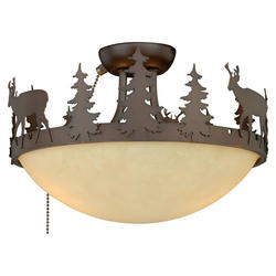 "Rustic Lodge 2-Light 12"" Burnished Bronze Fan Light"