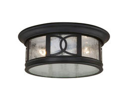 "Sterling 2-Light 12"" Forged Bronze Outdoor Ceiling Light"