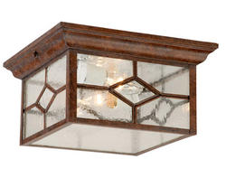 "Lawrence 2-Light 10"" Rustic Brown Outdoor Ceiling Light"