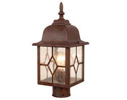 """Lawrence 1-Light 16.5"""" Rustic Brown Outdoor Post Light"""