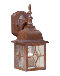 "Lawrence 1-Light 13.75"" Rustic Brown Outdoor Wall Light"