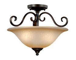"Mavis 2-Light 15.5"" Oil Brushed Bronze & Gold Accent Semi Ceiling Light"