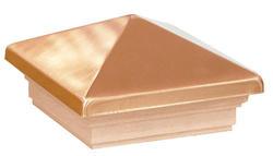 "Maine Ornamental® 4"" Copper-Plated Cedar Pyramid Post Top with Cedar Base"