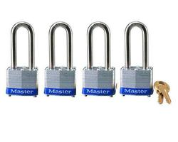 "1-1/2"" Laminated Steel Long Shackle Padlock (4-Pack)"