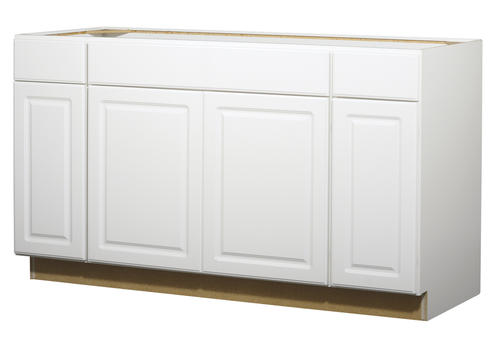 Value choice 60 ontario white standard 4 door sink base for Standard white kitchen cabinets