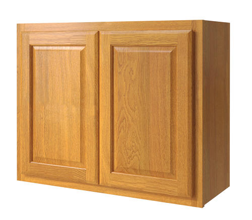 Kitchen Cabinets 30 X 24 Of Value Choice 30 X 24 Huron Oak Over An Appliance Wall