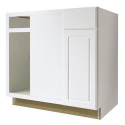 "Value Choice 36"" Ontario White Reversible Blind Corner Base Cabinet"