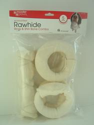Masterpaws White Rawhide Dog Chew Shin Bone and Small Ring