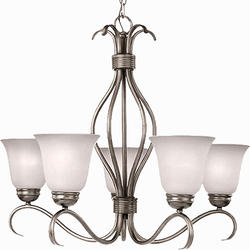 "Pyramid Creations Pyramid Creations Basix 26"" Satin Nickel 5-Light Single-Tier Chandelier"