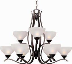 "Pyramid Creations Contour 34"" Oil Rubbed Bronze 9-Light Multi-Tier Chandelier"