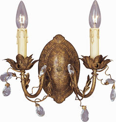 "Pyramid Creations Elegante 12"" Etruscan 2-Light  Gold Wall Sconce"