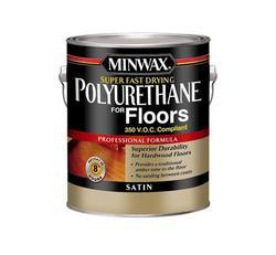 Minwax Super Fast-Drying Clear Satin 350-VOC Polyurethane for Floors - 1 gal.