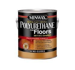 Minwax Super Fast-Drying Clear Semi-Gloss 350-VOC Polyurethane for Floors - 1 gal.