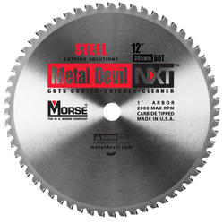"""12"""" x 60 Tooth 1"""" Arbor Circular Blade for Steel"""
