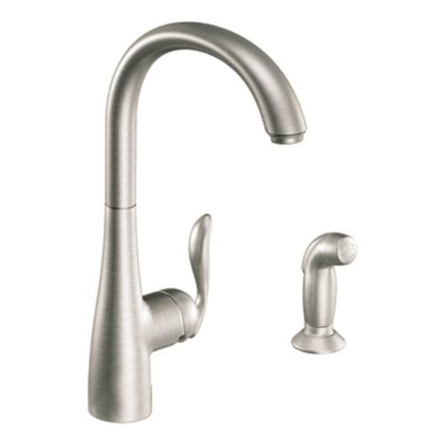 moen arbor single handle kitchen faucet with matching side moen 7790srs arbor single handle high arc kitchen faucet