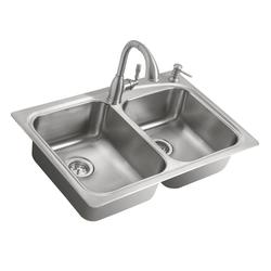 Moen Emi Stainless Steel Double Bowl Sink with Pullout Faucet and Soap Dispenser