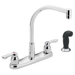 Moen Commercial 2-Handle Kitchen Faucet with Black Protege Side Spray