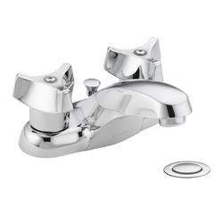 Moen Commercial 2-Handle Bathroom Faucet with Metal Drain Assembly