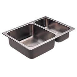 Moen 20 Gauge Double Bowl 25.5 X 18.75 Drop-In Stainless Steel 1-Hole Kitchen Sink