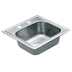Moen 22 Gauge Single Bowl 15 X 15 Drop-In Stainless Steel 2-Hole Kitchen Sink