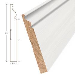 "Moldings Online Princeton Elite White Primed Wall Base Hardwood Trim 5 1/4"" x 5/8"""