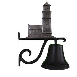 Cast Bell with Cottage Lighthouse Ornament (Swedish Iron)