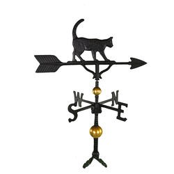 "32"" Deluxe Weathervane - Cat Ornament (Satin Black)"