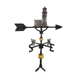 "32"" Deluxe Weathervane - Cottage Lighthouse Ornament (Swedish Iron)"