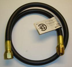 "Mr. Heater 30"" Hose (1/4 ID 2.5' L 3/8 Female Flare 3/8 Male Pipe) hooks a low pressure regulator to an appliance."