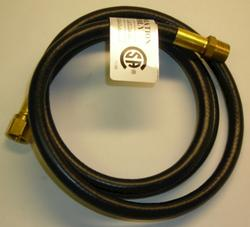 Mr. Heater 5' Hose (1/4 ID 5' L 3/8 Female Flare 3/8 Male Pipe)  hooks a low pressure regulator to an appliance.