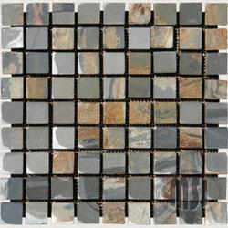 "Tumbled Stone Slate Floor or Wall Mosaic Tile 1"" x 1"" (10 sq.ft/pkg)"