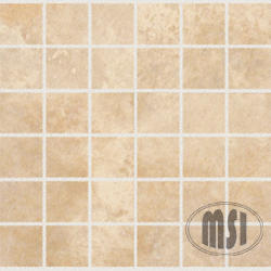 "Tumbled Travertine Floor or Wall Mosaic Tile 2"" x 2"" (10 sq.ft/pkg)"