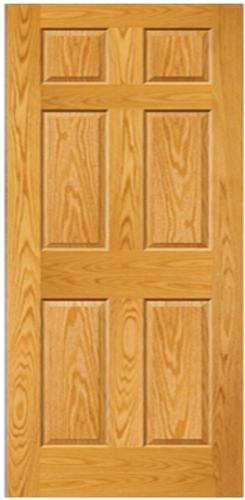 mastercraft 36 x 80 prefinished golden oak raised 6 panel interior door slab. Black Bedroom Furniture Sets. Home Design Ideas