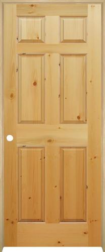 Mastercraft knotty pine raised 6 panel prehung interior door at menards for Mastercraft prehung interior doors