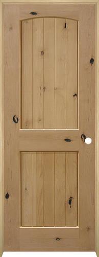 Mastercraft plank knotty alder arched 2 panel prehung interior door at menards for Mastercraft prehung interior doors